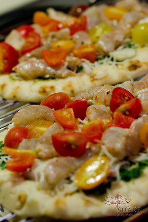 Mojo Shrimp Pizza with Tomatoes, Garlic & Parsley. © 2012 Sugar + Shake