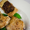 Caramelized Pickled Maui Onion Tart and Lemon Roasted Chicken. © 2013 Sugar + Shake