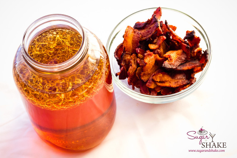 The fires of creativity...no, it's just bacon fat in bourbon. © 2013 Sugar + Shake