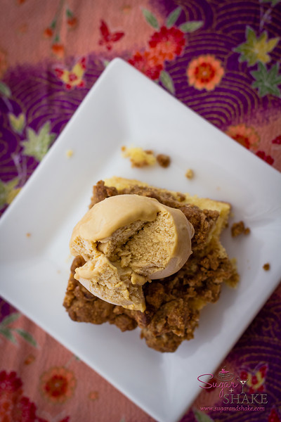 New York-Style Crumb Cake, topped with Speculoos Ice Cream. © 2013 Sugar + Shake