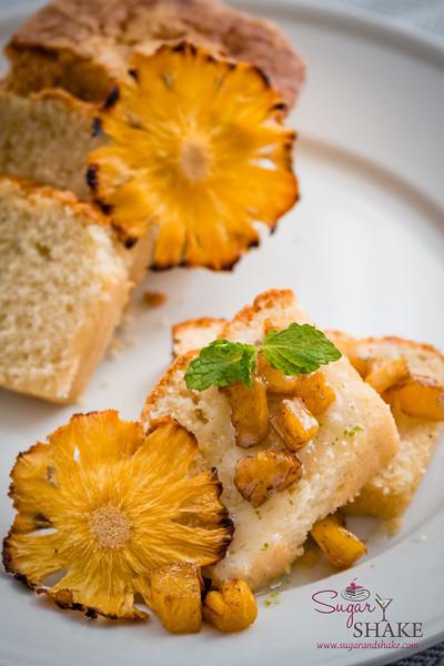 Kaffir Lime Vanilla Pound Cake with Kaffir Lime Glaze and Roasted Rum Pineapple. © 2014 Sugar + Shake