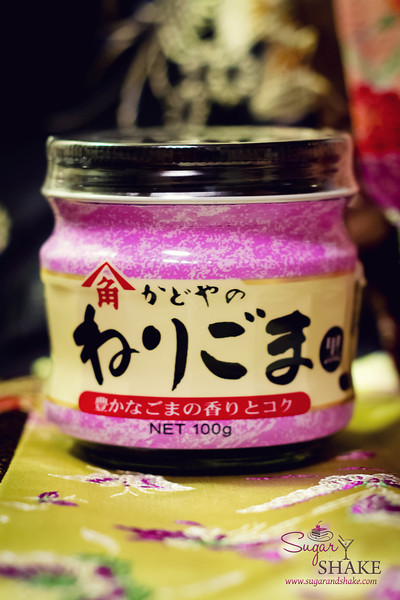 "The label just says ""neri goma"" (which means sesame seed paste), so you have to be careful to get the right one — it comes in regular (which looks like tahini) and ""kuro"" (black). © 2012 Sugar + Shake"