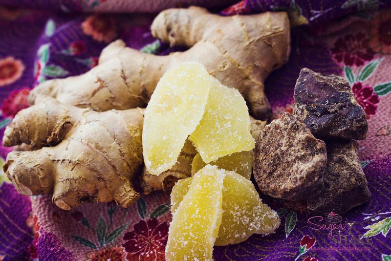 Ginger, candied ginger, and chunks of kuro sato. © 2012 Sugar + Shake