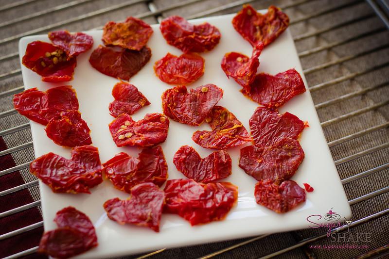 Hand-cut sundried tomato hearts. © 2013 Sugar + Shake