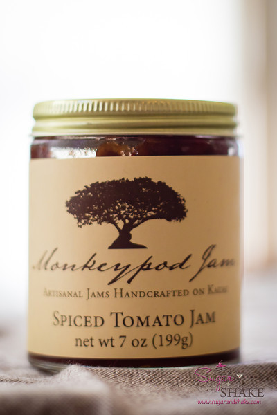 """Shake had a jar of this lovely <a href=""""http://www.monkeypodjam.com/collections/all/products/spiced-tomato-jam"""">Spiced Tomato Jam from Monkeypod Jam</a>. What to do with it...? Oh, cupcakes. Sure, that makes sense. © 2013 Sugar + Shake"""