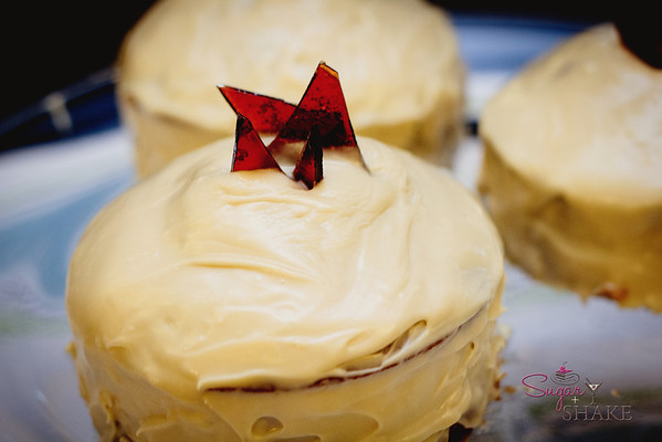 Frosted with Burnt Caramel Rum frosting and topped with Burnt Caramel shards. © 2012 Sugar + Shake