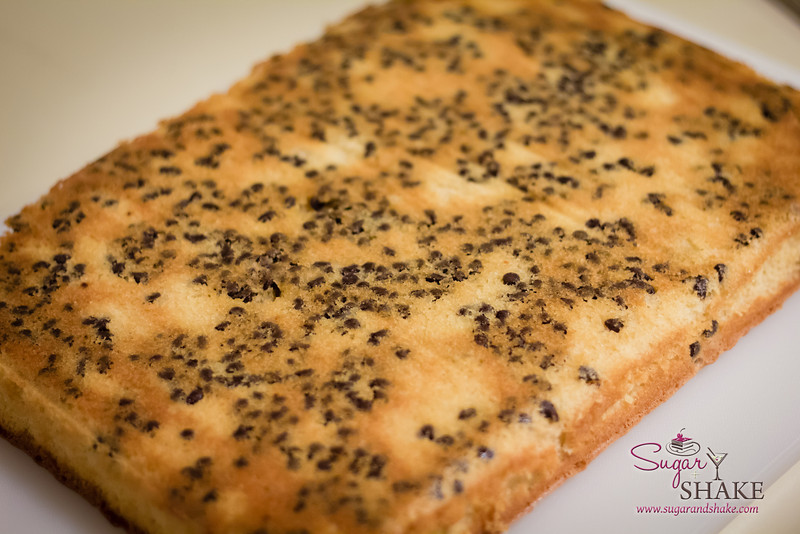 The underside of the cake. So this is where the chocolate chips vanished to... © 2013 Sugar + Shake