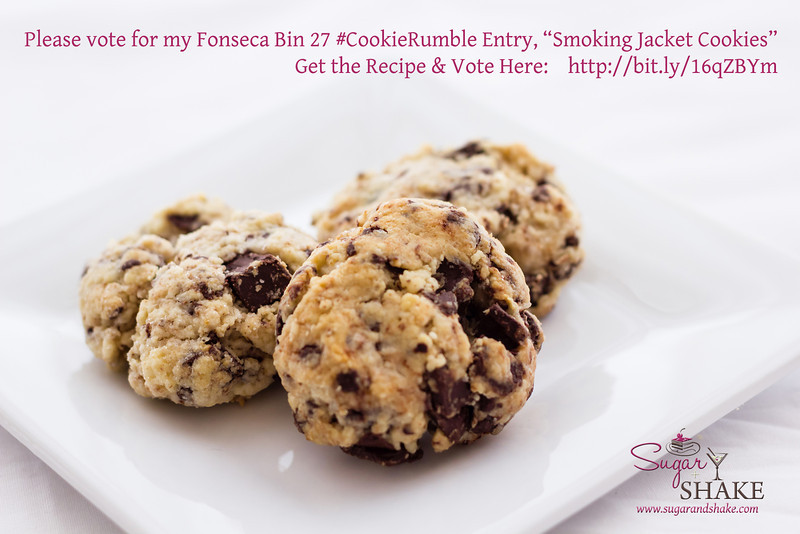 """Please vote for Sugar's """"Smoking Jacket Cookies"""" (Dark Chocolate & Cheesecake Chunk Smoked Tea Shortcake Cookies) in the Fonseca BIN 27 Port Cookie Rumble contest. Here's the link to vote: <a href=""""http://bit.ly/16qZBYm"""">http://bit.ly/16qZBYm</a>. © 2013 Sugar + Shake"""