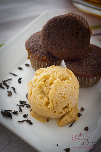 The smoky cupcakes paired nicely with homemade Bourbon-Rum Peach Ice cream. © 2012 Sugar + Shake