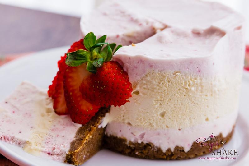 Triple-Layer Strawberries & Honey No-Churn Ice Cream Cake. © 2014 Sugar + Shake
