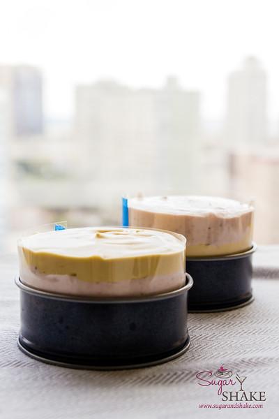 Triple-Layer Strawberries & Honey No-Churn Ice Cream Cake. Ready to freeze! © 2014 Sugar + Shake
