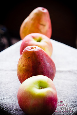 Fruit lineup. Apples and pears. © 2012 Sugar + Shake