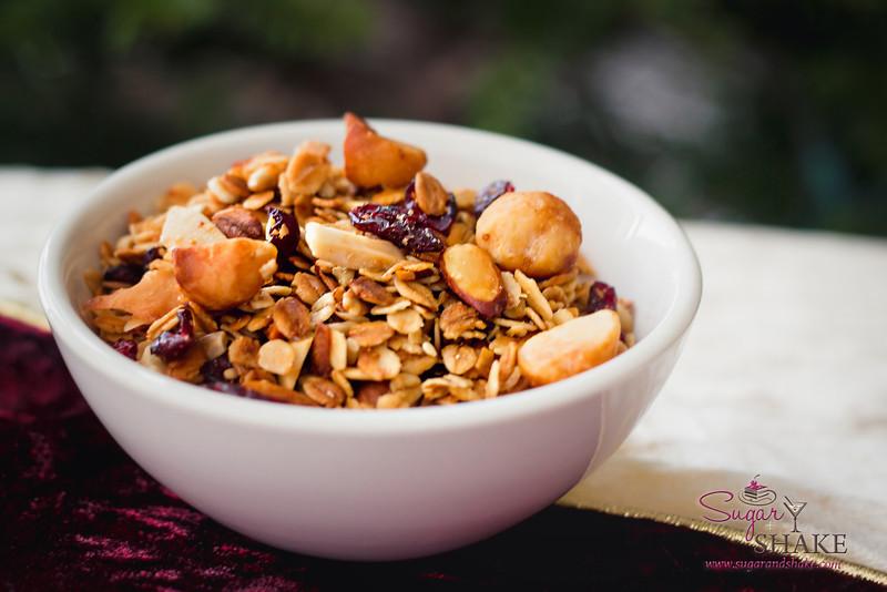 Shake's Cranberry Mac Nut Crunch Granola. Next year, it, too, will be bourbon glazed. © 2012 Sugar + Shake
