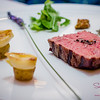 Bistecca alla Lavanda (lavender-infused sous vide Wagyu Tajima beef, roasted petite potatoes) at Arancino at The Kahala Hotel. © 2014 Sugar + Shake