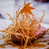 A very fall presentation of Muscovy duck with mushrooms, gobo (burdock root) and a topping of fried leeks at Arancino at The Kahala Hotel. © 2014 Sugar + Shake