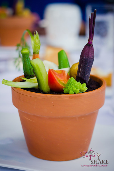 A bagna cauda garden (everything is edible—OK, not the flower pot) at Arancino at The Kahala Hotel. © 2014 Sugar + Shake.