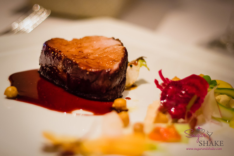 """Sugar's Birthday Dinner — Orchids at the Halekulani. Meat Course: Red Wine Poached Veal with Hummus  and """"Chips"""" © 2013 Sugar + Shake"""