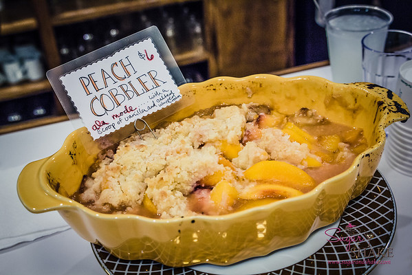 Peach cobbler at VIA Gelato. Sooo good warm, with a little gelato a la mode! © 2014 Sugar + Shake