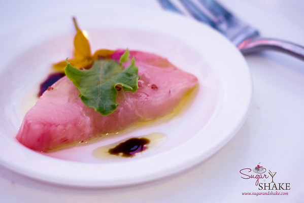 Beautiful sashimi by Chef Darren Ogasawara of Brown's Beach House, Fairmont Orchid. © 2014 Sugar + Shake