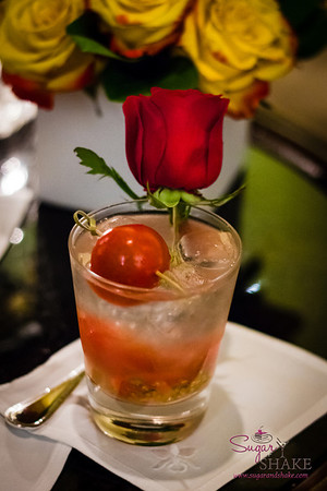 "La Tomate — ""A refreshing taste of true tomatoes crushed before your eyes and harnessed with shochu and junmai rice wine"" © 2013 Sugar + Shake"