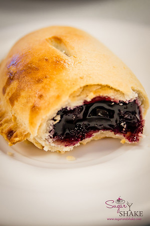 Inside the blackberry turnover. These are much less dry than typical manju. © 2014 Sugar + Shake