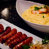 """More at Chez Kenzo, where the food is basically """"stuff that tastes good when you're drunk."""" Drunk or sober, the Kim Chee OmuRice (omelette over kim chee fried rice) and a side of sausage tastes pretty good! © 2013 Sugar + Shake"""