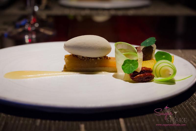 Vintage Cave. Dessert Course One: Apple Tarte Tatin, sablé breton, candied pecans, bourbon ice cream. © 2014 Sugar + Shake