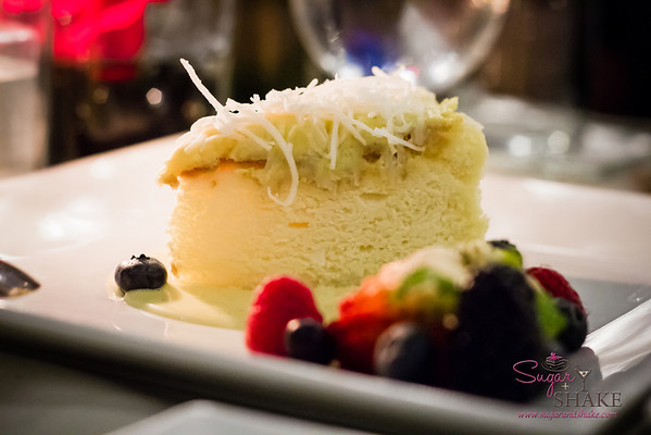 Chef Chai at Pacifica Tasting Dinner — Cheesecake with Shredded Coconut with Tahitian Vanilla Crème Anglaise. A Japanese-style cheesecake, light and spongy, not dense and creamy. © 2013 Sugar + Shake