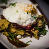 Maui flat iron steak with chilaquiles, sunny side-up egg, salsa borracho at Cocina. © 2014 Sugar + Shake