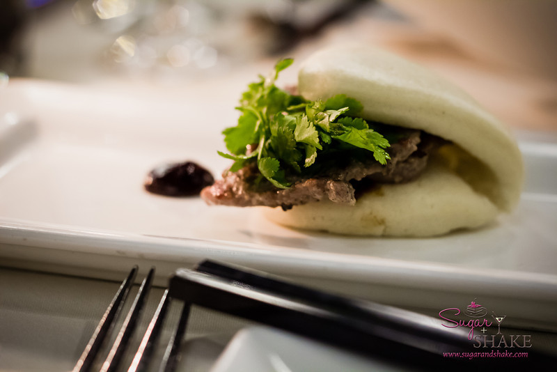 Chef Chai at Pacifica Tasting Dinner —  Rosemary Garlic Pork Tenderloin with Chinese Bao Buns, Hoisin and Scallion. Tender and tasty, and made with lean meat, in keeping with the healthy philosophy of the new Chef Chai restaurant. © 2013 Sugar + Shake