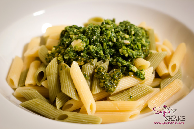 Penne pasta with the Kumu Farms pesto. © 2012 Sugar + Shake