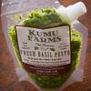 Packaged pesto from Kumu Farms. Fabulous taste, annoying packaging. (The mac nuts — which are great — jam up the spout.) © 2012 Sugar + Shake