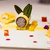 Sugar's Birthday Dinner — Orchids at the Halekulani. Dessert Course: Kulfi with Cashew Sponge Cake, Guava Gelée, Pomegranate and Pineapple Coulis. © 2013 Sugar + Shake