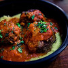 Beef Meatballs with Kim Chee Marinara over Polenta at Meatball Hawaii. © 2014 Sugar + Shake