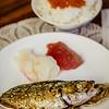 Sugar's Birthday Dinner — Family Dinner. Sashimi, fried akule and ikura on rice. © 2013 Sugar + Shake