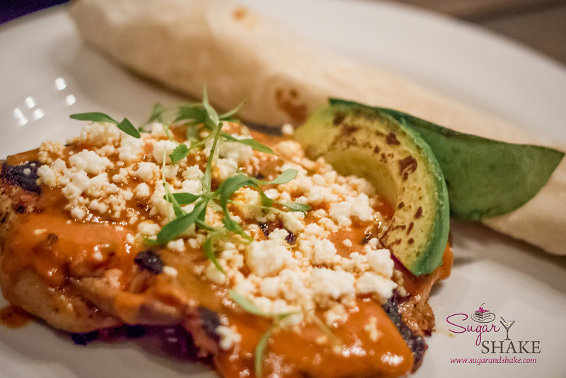 Brick-Pressed Jidori Chicken with Tinga Puree, house-made flour tortilla, avocado and queso fresco. © 2013 Sugar + Shake