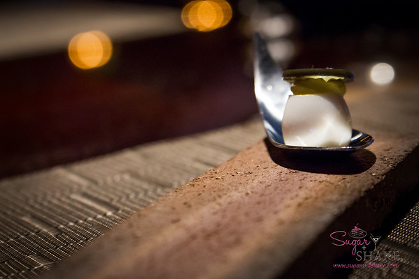 Vintage Cave. Amuse bouche: Quail egg and truffle. © 2014 Sugar + Shake