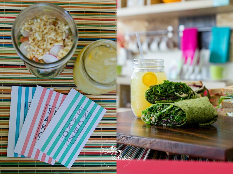 Snackbox treats! LEFT: Salad Jar and Olena Lemonade. RIGHT: Hirabara Farms Kale Wrap and Olena Lemonade. © 2014 Sugar + Shake