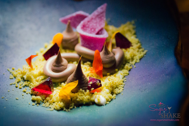 Patek Philippe Dinner, Dessert by Vintage Cave, Chef Chris Kajioka & team. Mascarpone cream, pistachio, pâte de fruit. © 2014 Sugar + Shake