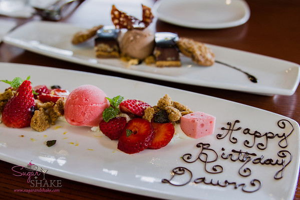 "The birthday that keeps on going! MW dessert creations: Kula Strawberry ""Cheesecake"" (Li-Hing Ume Filled Strawberries, Strawberry Yuzu Sorbet, Kiawe Graham Crackers) and MW Candy Bar (Macadamia Nut-Praline Crunch, Salt Caramel, Waialua Chocolate, MW Cookies). © 2014 Sugar + Shake"