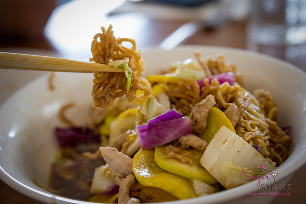 Cake Noodle Pork — Market vegetables, lean pork, egg noodles, oyster-garlic sauce. © 2014 Sugar + Shake