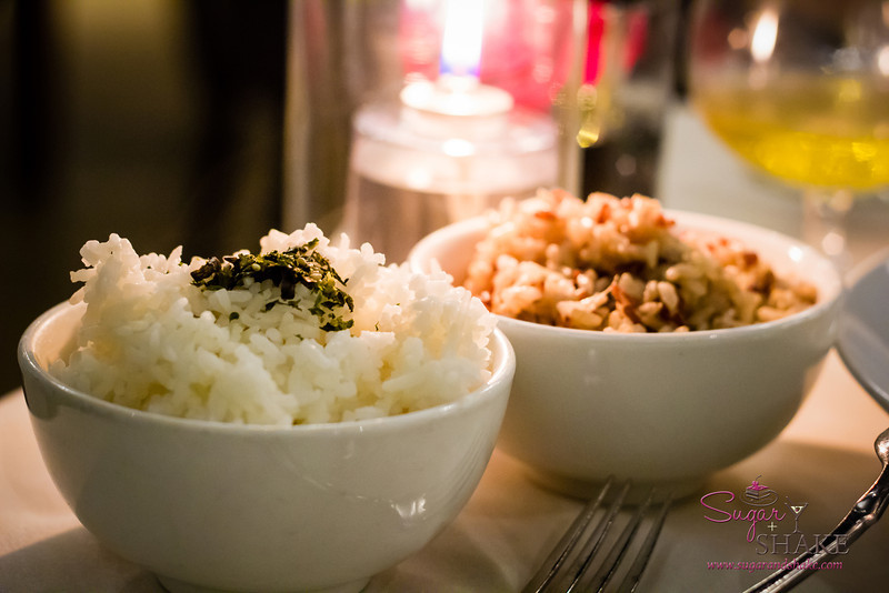 Chef Chai at Pacifica Tasting Dinner — Jasmine rice (left) and coconut ginger rice (right). Chai brought these to the table, saying that he thought the plain jasmine was better with the fish, but that the coconut ginger was extremely popular with guests. (He was right — the coconut rice had a lovely flavor, but totally unnecessary with the flavorful fish.) © 2013 Sugar + Shake