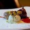 Chef Mavro Fall 2014 Menu Tasting. Dessert Option One: Fig poached in spiced burgundy wine, fig & pistachio dumpling, pistachio ice cream. © 2014 Sugar + Shake