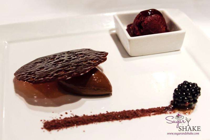Chef Mavro Fall 2014 Menu Tasting. Dessert Option Two: Acai & Waialua chocolate crémeux, chocolate wafer, acai-blackberry sorbet. © 2014 Sugar + Shake