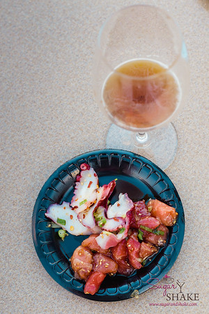 Foodland Poke Pau Hana Preview Event. Pairing #9: Hawaiian Style Tako Poke + Breakside Brewery Toro Red. Pairing #10: Shoyu 'Ahi Poke + Samuel Smith's Nut Brown Ale. © 2016 Sugar + Shake