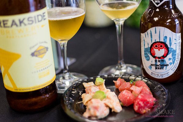 Foodland Poke Pau Hana Preview Event. Pairing #1: California Roll 'Ahi Poke + Breakside Brewery Liquid Sunshine Pilsner. Pairing #2: Hawaiian-Style 'Ahi Poke + Hitachino Nest White Ale. © 2016 Sugar + Shake