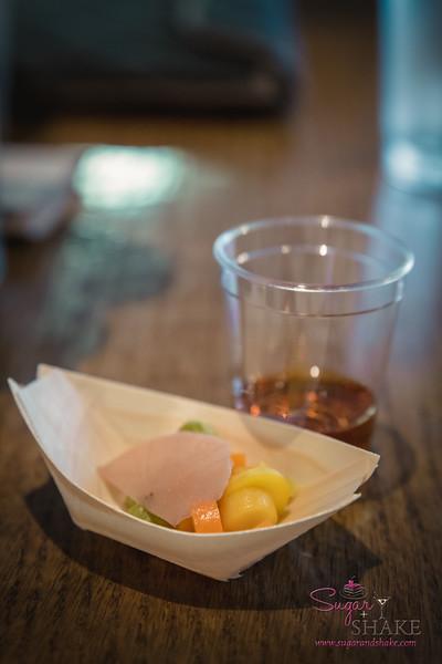 "Holoholo General Store Spring Harvest Dinner at Livestock Tavern. Amuse Bouche: Whiskey and ""Pickle Back."" © 2015 Sugar + Shake"