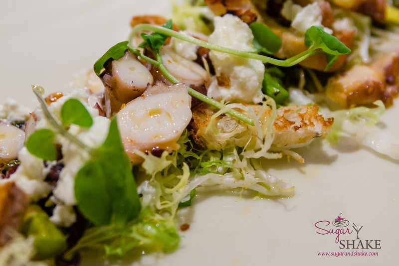 """Grilled Octopus at Ka'ana Kitchen with Surfing Goat Dairy """"Secret Sicily"""" chèvre, watercress, asparagus, grilled bread. © 2014 Sugar + Shake"""