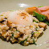 Abalone Risotto at Ka'ana Kitchen with kampachi bacon, onset egg, saikyo miso. © 2014 Sugar + Shake