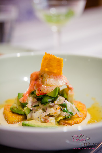 Lobster Ceviche at Ka'ana Kitchen with Surfing Goat Dairy liliko'i suero, avocado, plantains.  © 2014 Sugar + Shake